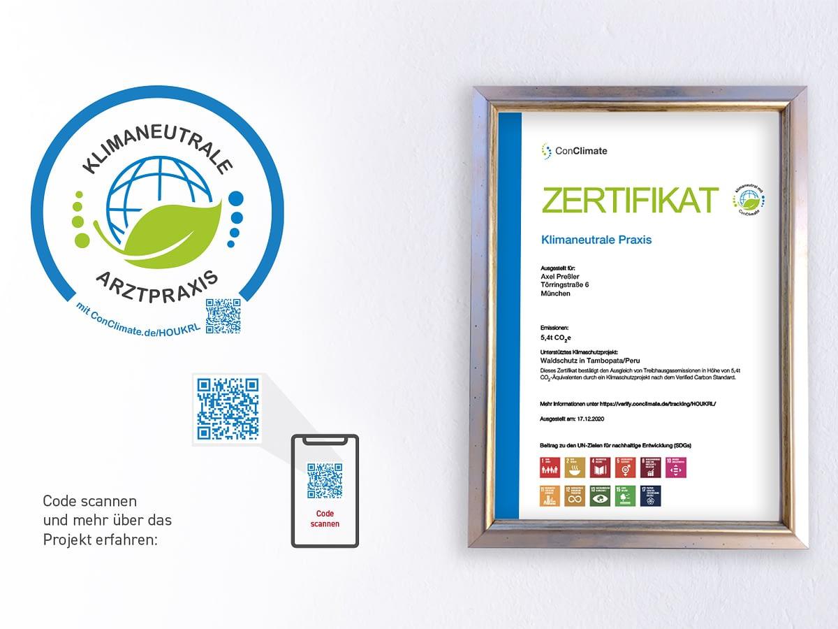 """Kardiologie mit Herz erhält Zertifikat """"Klimaneutrale Arztpraxis"""""""